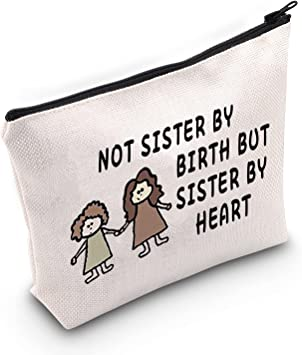 LEVLO Friendship Cosmetic Make up Bag Friend Gifts Not Sister by Birth But Sister by Heart Makeup Zipper Pouch Bag For Sisters Friend (Not Sister by Birth)