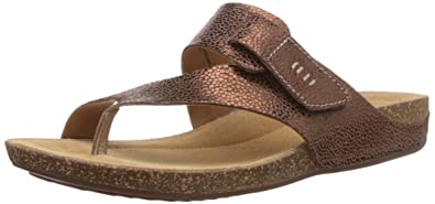 d5ab41ed0 Clarks Perri Coast Women s Thong Sandals Brown (Bronze Metallic Leather)