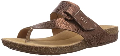 Clarks Perri Coast Women's Thong Sandals Brown (Bronze Metallic Leather),  3.5 UK (