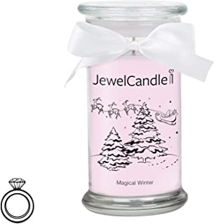 JewelCandle Magical Winter - Candela profumata in Vetro con Un Gioiello (Anello in Argento Sterling 925)(S) JuwelKerze JewelCandle UG