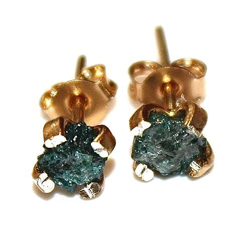 Amazon Com Raw Diamond Earrings Blue Diamonds Rough Diamond Studs Real Diamond Jewelry Tiny Earrings Small Earrings Natural Diamond Modern Jewelry Handmade