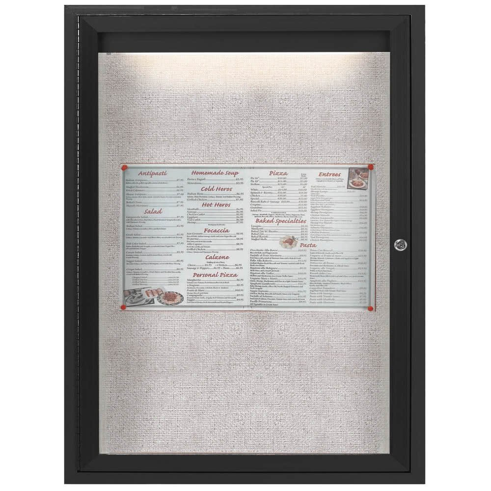 TableTop King ODCC2418RIBK 24'' x 18'' Enclosed Hinged Locking 1 Door Powder Coated Black Outdoor Lighted Bulletin Board Cabinet
