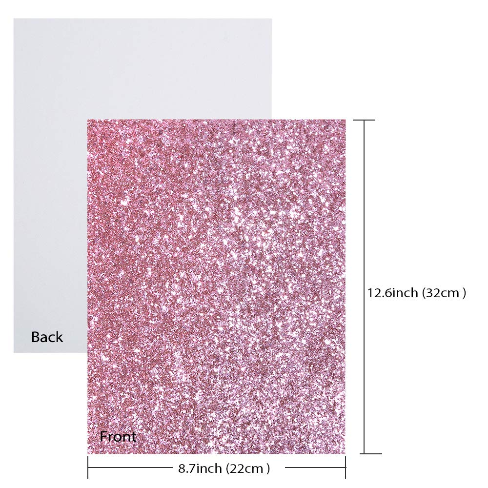 Caydo 9 Colors Accessories Super Shiny Chunky Glitter Stereoscopic Sequins Faux Leather Sheets Canvas Back for Craft DIY, Hair Clips Making, Earrings Making 12.6 x 8.6 Inch (32 x 22 cm) by Caydo (Image #4)