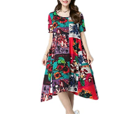 WalterTi cotton linen vintage print loose dress vestidos femininos dresses Green M