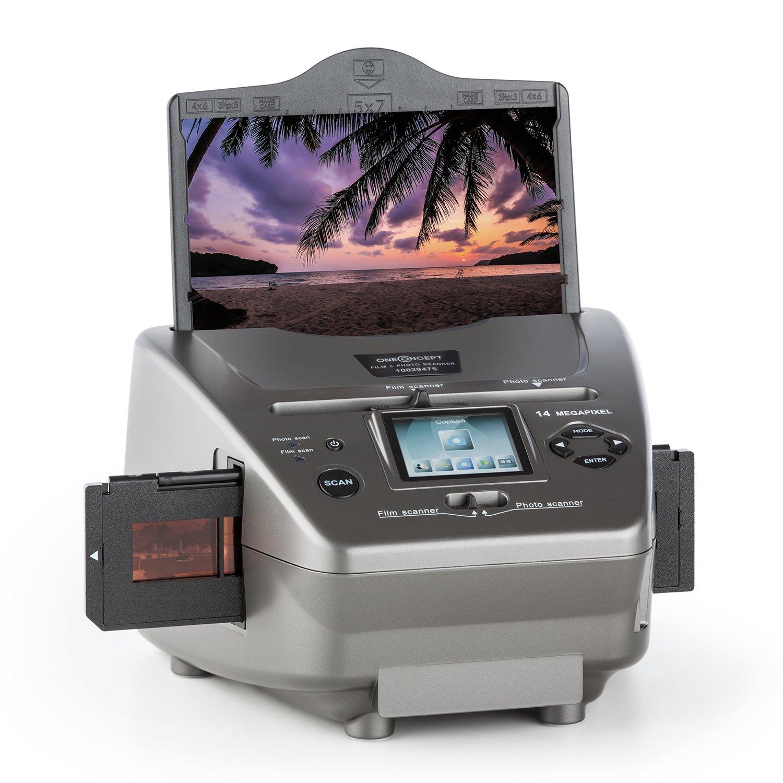 oneConcept Combo Scanner 979GY • Scanner per Diapositive e Pellicole • SD • USB • 14MP • Sensore CMOS • Display LCD • Editing • Menù Multilingua • Riprodizione su PC • Colore Grigio 979GY-6300-sanr