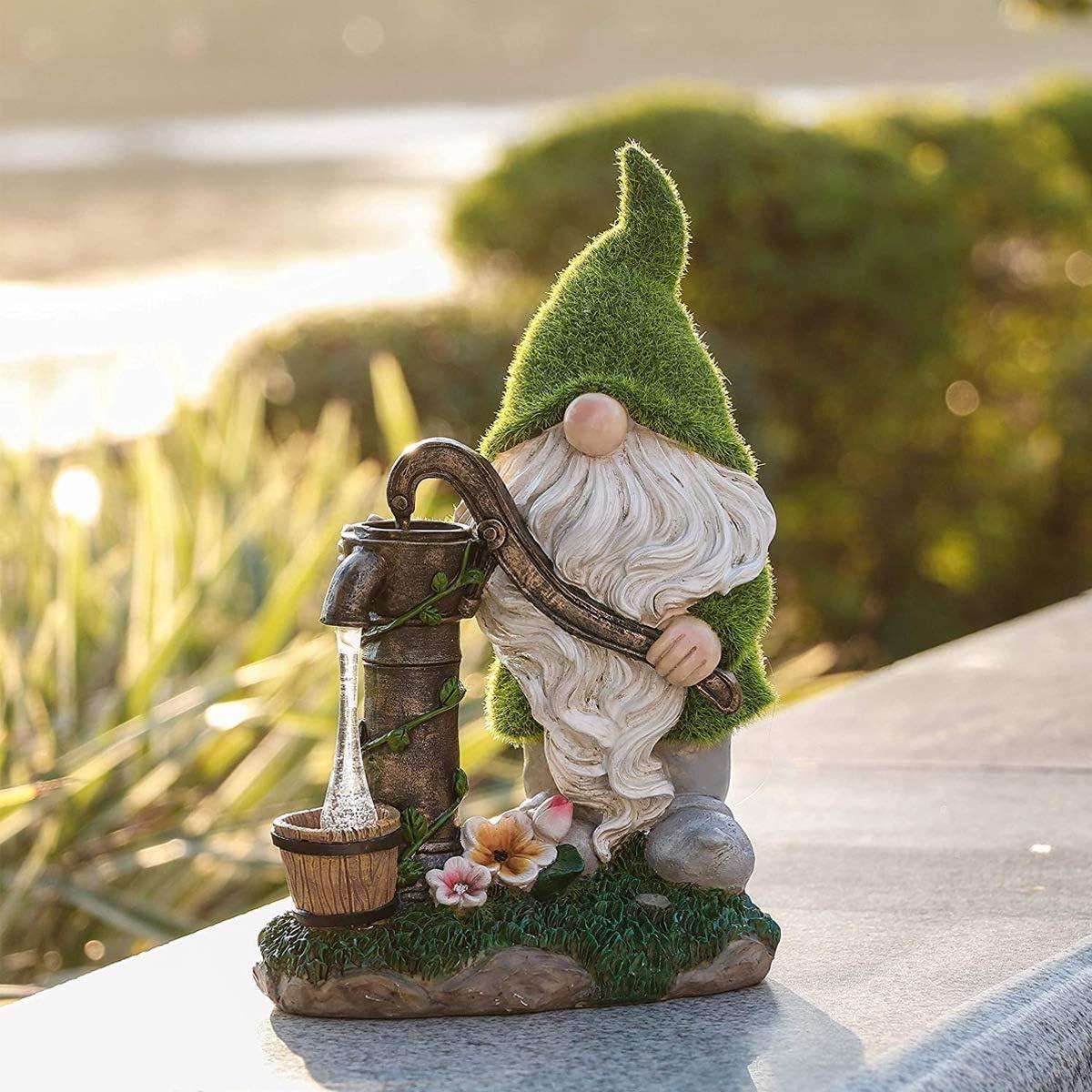 Estatua De Gnomo De Jard/ín Game of Gnomes Gnomo De Jard/ín Ornamento Solar De Resina Para Exteriores Pintado A Mano Y Resistente A La Intemperie Estatua De Gnomo Enano De Resina Para Decoraci/ón