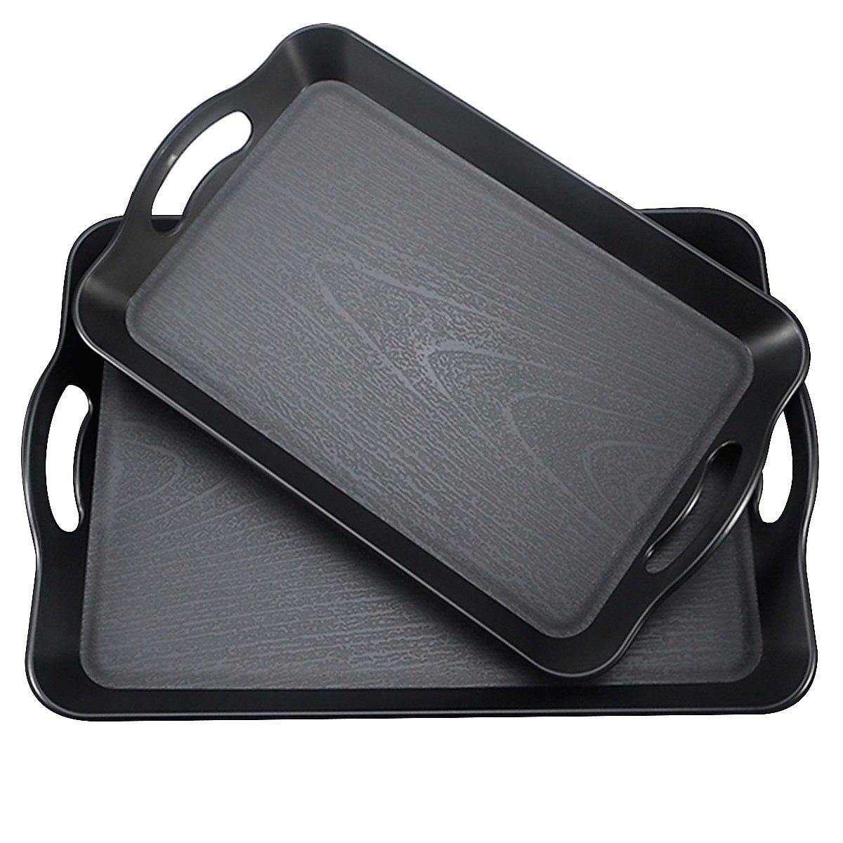 Fecihor Set of 2 Pieces Multi-Purpose Rectangular Waterproof Plastic Serving Tray with Wide Handle, Black 16.5'' x 11'' and 14.5'' x 9''