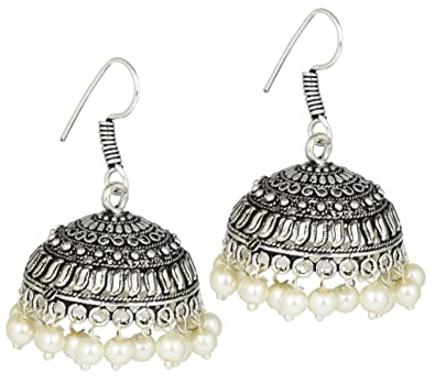 bfb05c549 Buy AELO Anitique Black Metal White Beads Oxidised German Silver Jhumka/Jhumki  Earrings for Women & Girls Online at Low Prices in India | Amazon Jewellery  ...