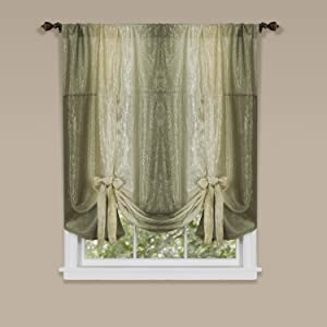"Achim Home Furnishings Ombre Tie up Shade Window Curtain, 50"" x 63"", Sage"