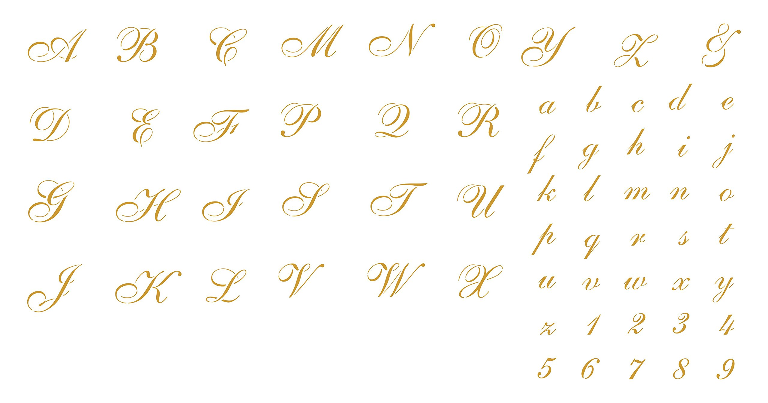 Cursive Letter Stencils 1'' (3x sheet 8'' x 12'') Reusable Stencils for Painting - Best Quality Scrapbooking Alphabet ABC Font Stencil Ideas - Use on Walls, Floors, Fabrics, Glass, Wood, Cards, and More...