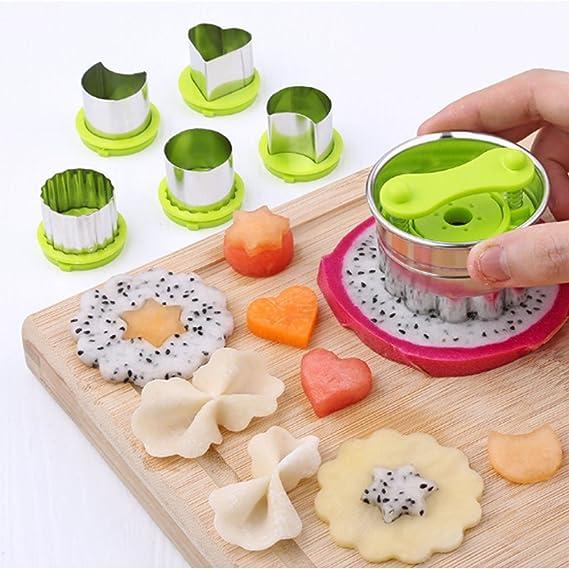 ZWANDP 5 piezas de verduras y frutas máquina de corte de flores molde de acero inoxidable galletas luna estrella molde de queso prensas mariposas de los ...