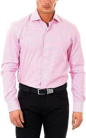 McGregor Camisa Hombre Carl Basic Str. Burton 1 TF LS Rosa/Blanco 39 cm (15.5