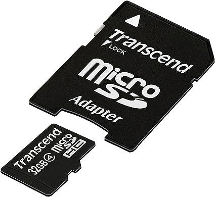 TALLA 32 GB. Transcend TS32GUSDHC4 - Tarjeta Micro SDHC de 32 GB, Clase 4, con Adaptador