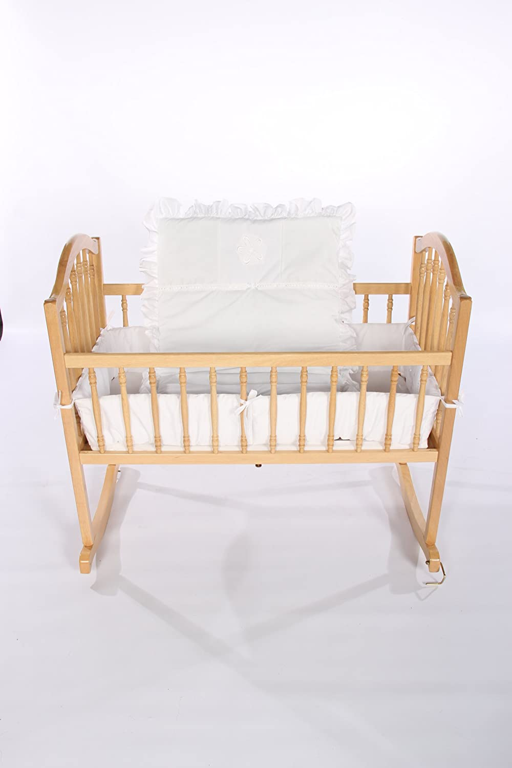 Baby Doll Bedding Solid with Flower Applique Cradle Bedding Set, White by BabyDoll Bedding   B004WN8SDW