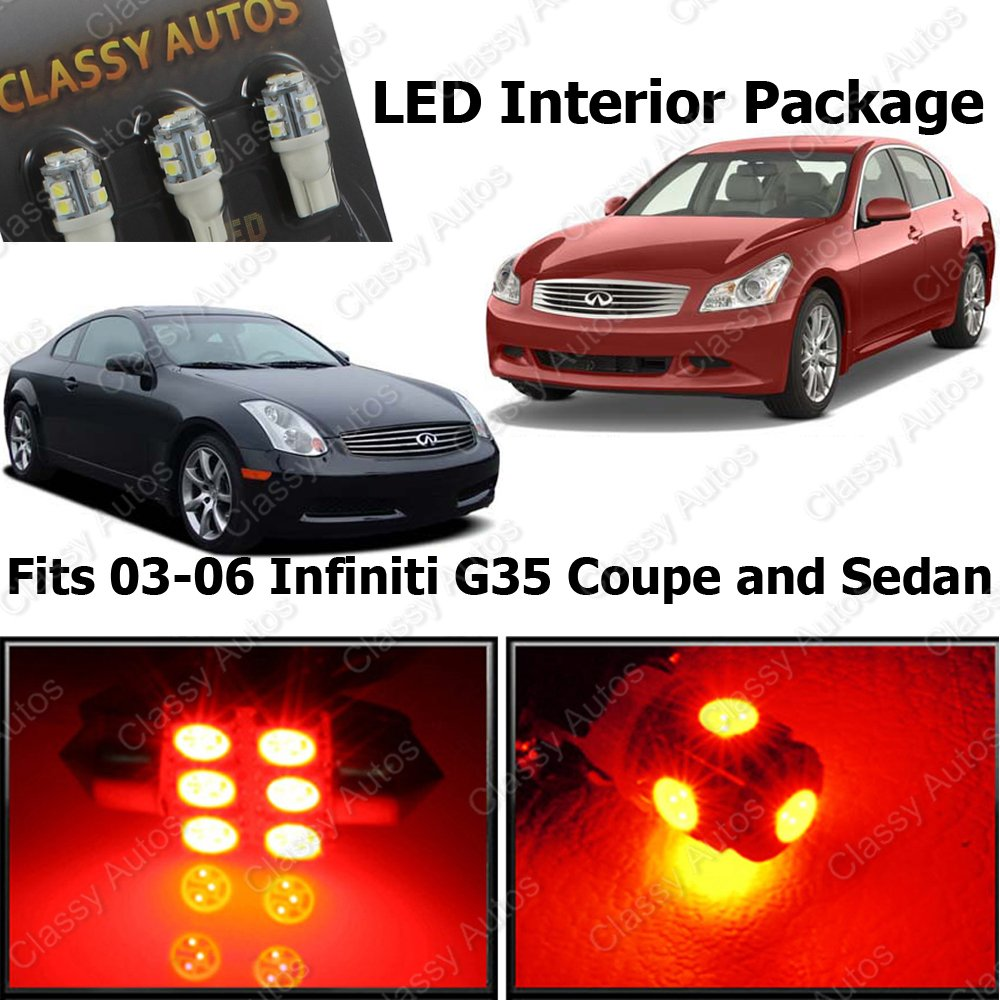 Amazon classy autos infiniti g35 red interior led package 7 amazon classy autos infiniti g35 red interior led package 7 pieces automotive vanachro Choice Image