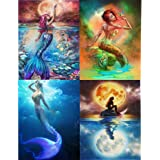 Diamond Painting Set DIY 5D Diamond Embroidery Painting Pictures Mermaid Diamond Painting by Number Kits Full Drill Rhinestone Home Wall Decor 4 Packs (10.2 x 12.2 inch)