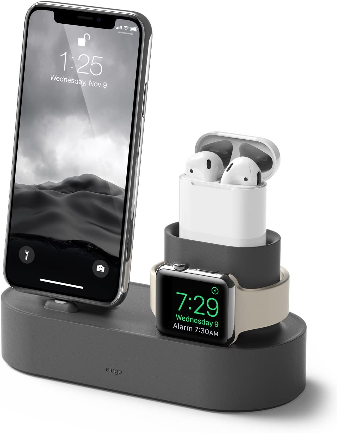 elago 3 in 1 Apple Charging Station Compatible with Apple Watch Series 6/SE/5/4/3/2/1, Apple AirPods 2/1, iPhone 11 and All iPhone Models [Original Cables Required] (Dark Grey)