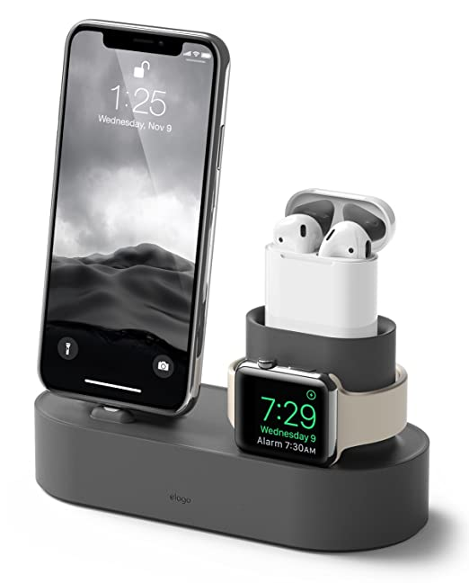 Elago Charging Hub [Dark Grey]   [3 In 1 Charging Stand]   For Apple Watch Series 4 (2018)/3/2/1; Apple Air Pods ; I Phone Xs/Xs Max/Xr/X/8/8 Plus, And All I Phone Models by Elago