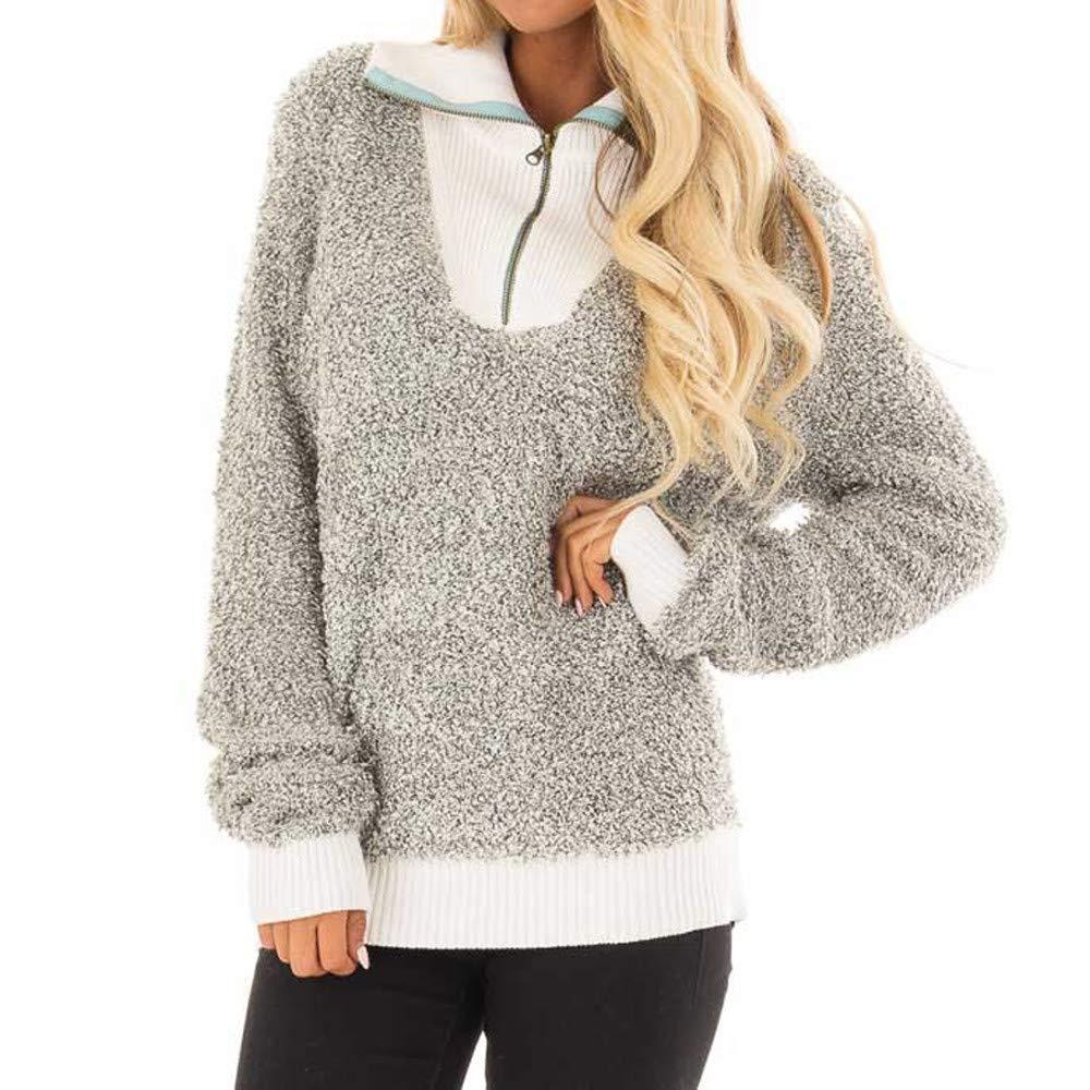 Ulanda Womens Long Sleeve Sherpa Pullover Fuzzy Fleece Sweatshirt 1//4 Zipper Loose Tunic Tops