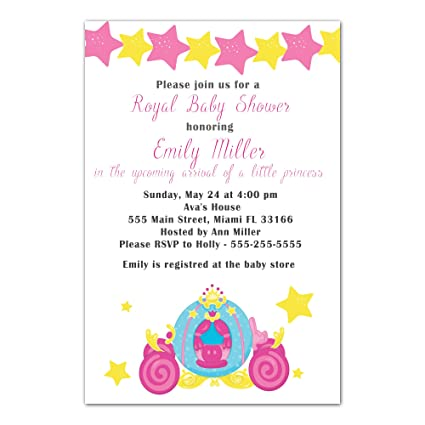 Amazon 30 invitations princess carriage pink yellow invite baby 30 invitations princess carriage pink yellow invite baby girl shower sprinkle or birthday party personalized cards filmwisefo
