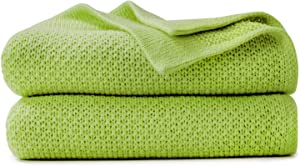 VEEYOO Throw Blanket for Couch - Lightweight Cozy Blankets and Throws 50 x 65 Inch, Knit Soft Green Throw Blankets for Sofa, Bed, Office, Travel, Office