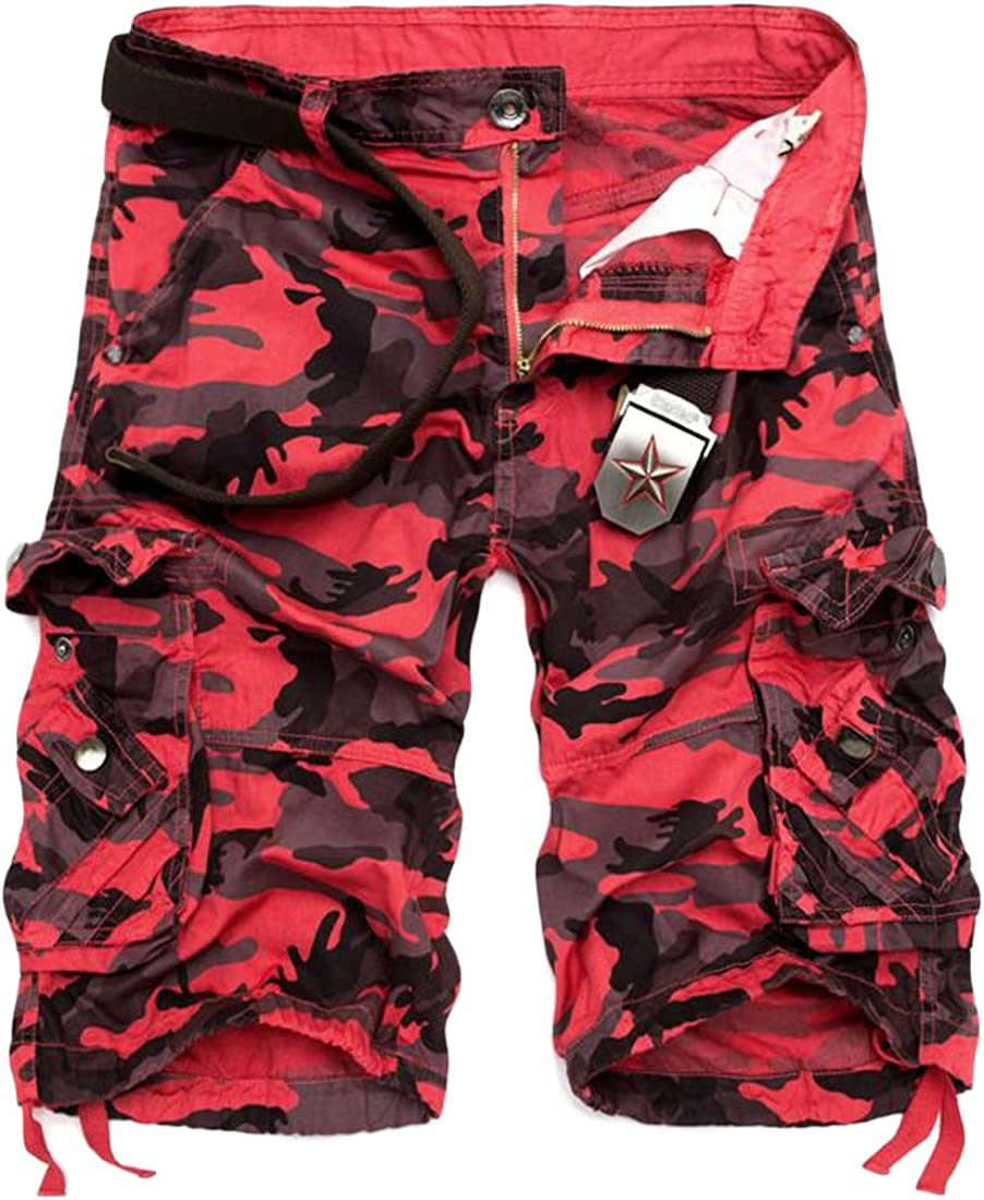Wopop Mens Mid Waist Camouflage Knee Length Rugged Relaxed-Fit Regular Cargo Shorts