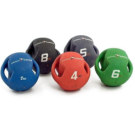 Precision Fitness Twin con mango de goma Balón Medicinal pelota de ...