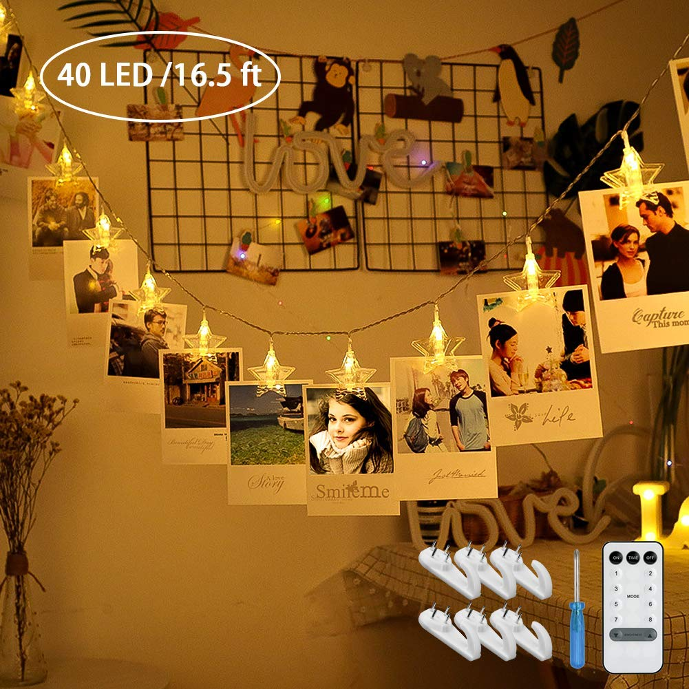 40 LED Photo Clips String Light 16.5ft Photo String Lights with Clips Aiseeny Fairy Lights Battery Operated USB Powered 8 Modes 6 Wall Hooks Lights for Bedroom Cards Christmas Decoration