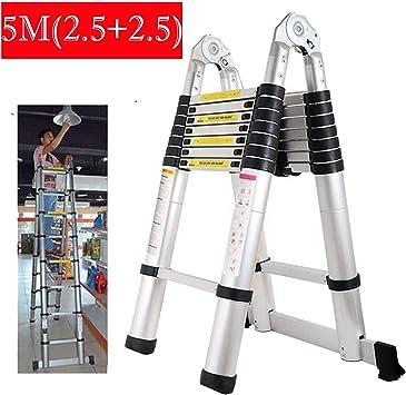 Escalera telescópica multiusos de 5 m (2,5 m + 2,5 m) de aluminio plegable y extensible para bricolaje en interiores y exteriores, estándar EN131: Amazon.es: Bricolaje y herramientas