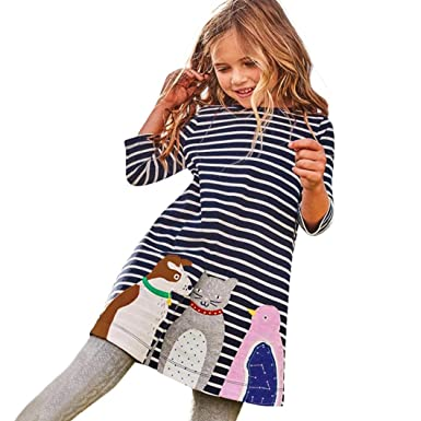 050278d2cea OverDose Toddler Kids Baby Girls Cotton Long Sleeve Dress 2018 Birthday Tunic  Dress Children Clothes Animal Applique Robe: Amazon.co.uk: Clothing