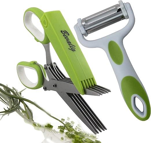 7-in-1 Multi-Functional Kitchen Scissors in Green Gadget Utensil Function 2 X