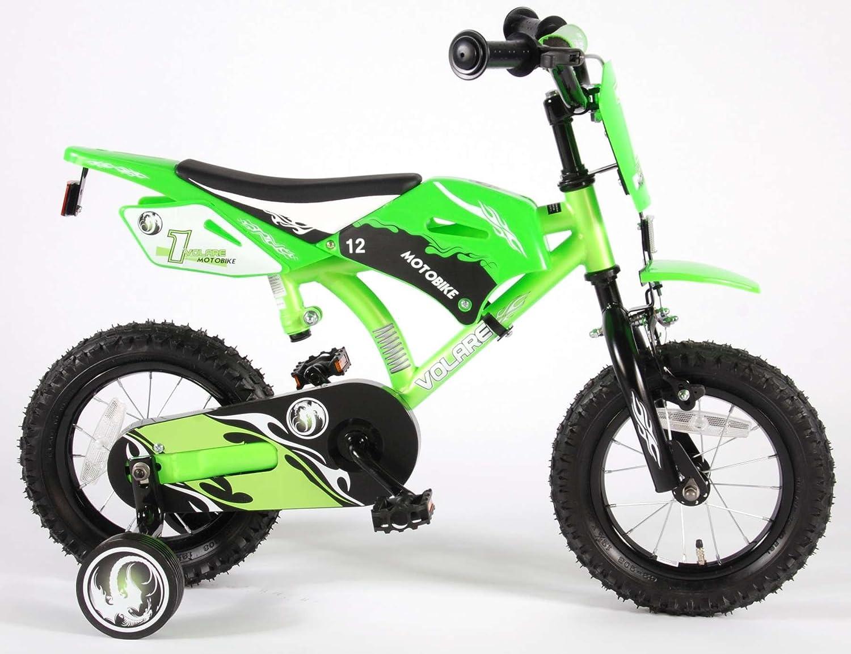 Volare 61207 - Bicicleta de motocross para niños, color verde, 12 pulgadas
