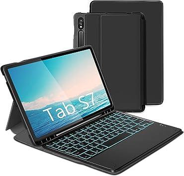 Jelly Comb Funda con Teclado Español Ñ para Samsung Tab S7 11 Funda Protectora para Tableta Samsung (SM-T870 / 875), Teclado Bluetooth Extraíble ...