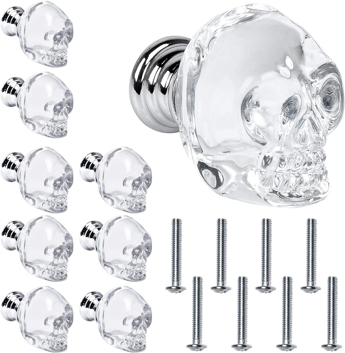 Crystal Glass Door Knobs Akamino Skull Clear Drawer Knobs with Screw Knob Pull Handle Hardware for Cabinet Wardrobe Cupboard - Home Kitchen Bedroom Decor Knobs