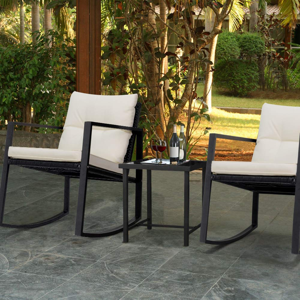 Devoko 3 Piece Rocking Bistro Set Wicker Patio Outdoor Furniture Porch Chairs Conversation Sets with Glass Coffee Table Black