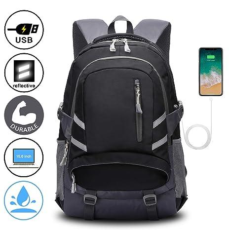 design di qualità 87e13 c726c E-ZONED Zaino Scuola Superiore per PC 15.6 Pollici da Donna e Uomo,  Backpack Portabile Casual Rucksack per Laptop Universita Viaggio con Presa  ...