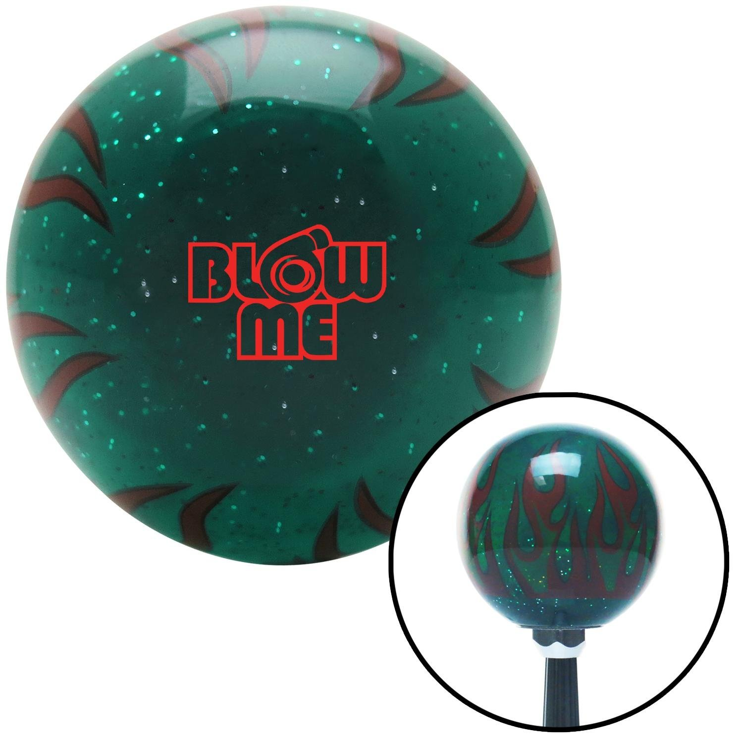 Red Blow Me Green Flame Metal Flake with M16 x 1.5 Insert American Shifter 300874 Shift Knob