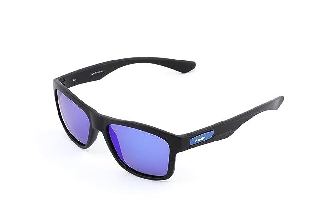 Sunner Gafas de Sol Para Hombre y Mujer Protección UV400 SUP6015 Lentes Polarizadas Montura Ligera Resistente a los Golpes (Montura Negra Lentes Azules): ...