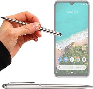 DURAGADGET Lápiz Stylus Plata + Bolígrafo (2 En 1) Compatible con Smartphone Xiaomi Mi A3, Samsung Galaxy J6+: Amazon.es: Electrónica
