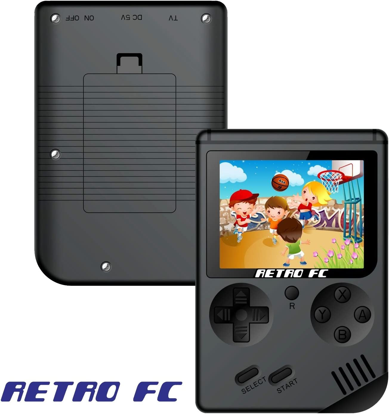 Handheld Game Console Portable Classic FC Game Player 3-inch Screen Mini Retro Pocket Console 168 8-bit Digital Video Games Black AV Cable Playing on TV