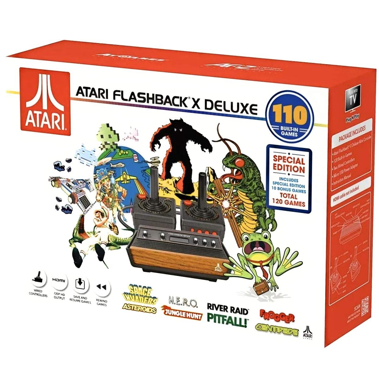 Atari Flashback X Deluxe Retro Console 120 Built-in Games - 2 Wired Controllers - HD HDMI Port - Plug n Play