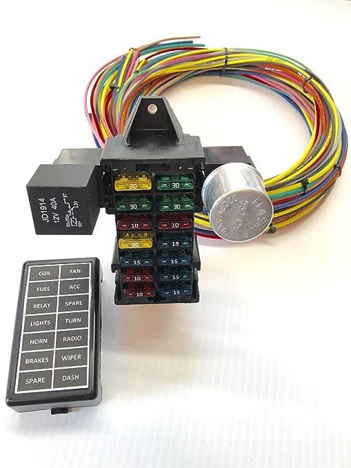 71ci 1aZ IL._SY679_ amazon com street rod universal 14 fuse 12 14 circuit wire harness