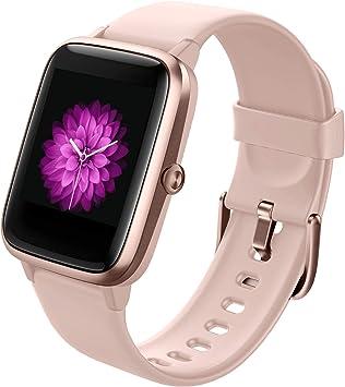GRDE Smartwatch, Reloj Inteligente Impermeable IP68 con Monitor de Sueño Pulsómetro Podómetro Caloría GPS para Deporte, Smartwatch Reloj Inteligente Mujer Niños Despertador para Android iPhone-Rosa: Amazon.es: Electrónica