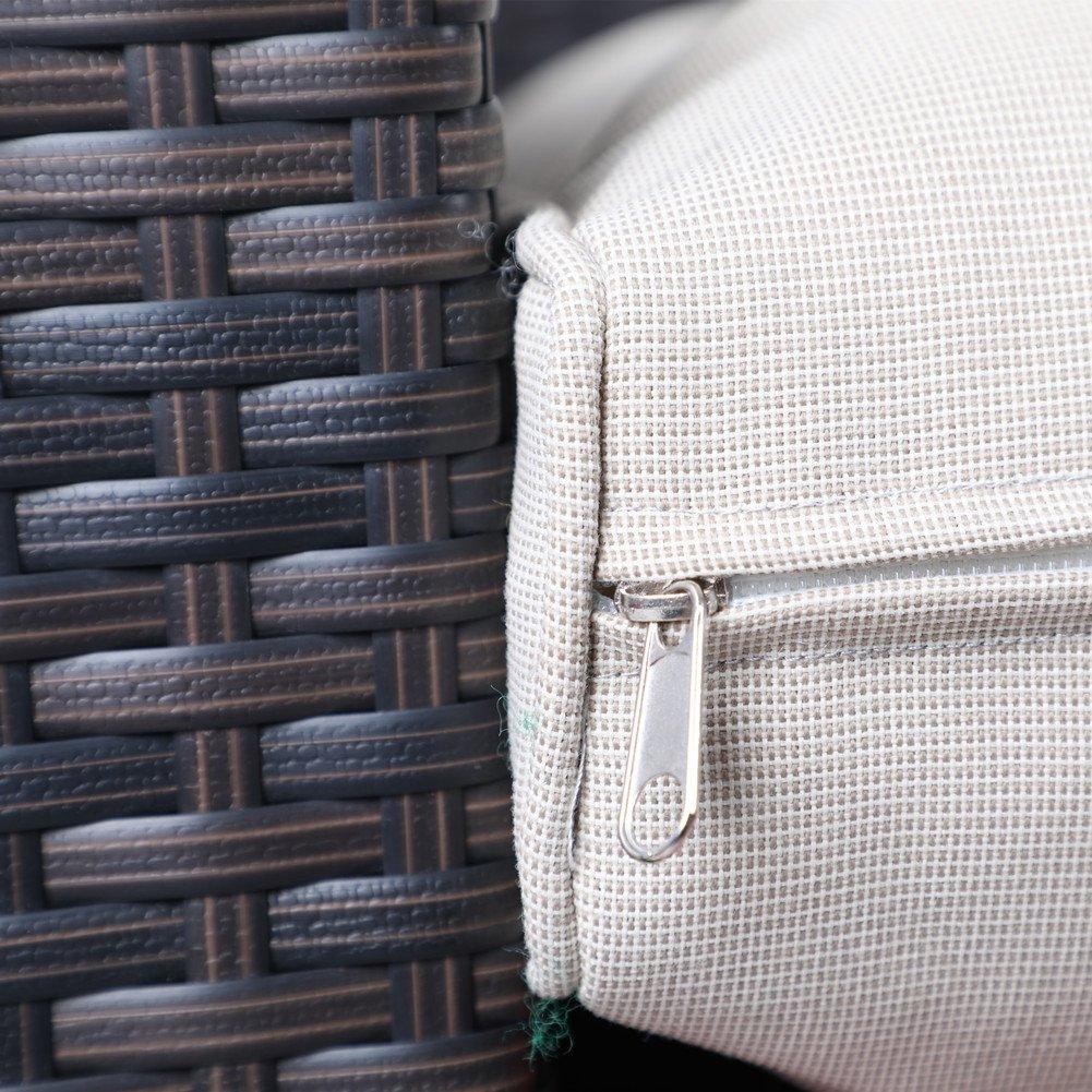 PHI VILLA 3-Piece Outdoor Rattan Sectional Sofa- Patio Wicker Furniture Set, Beige by PHI VILLA (Image #6)