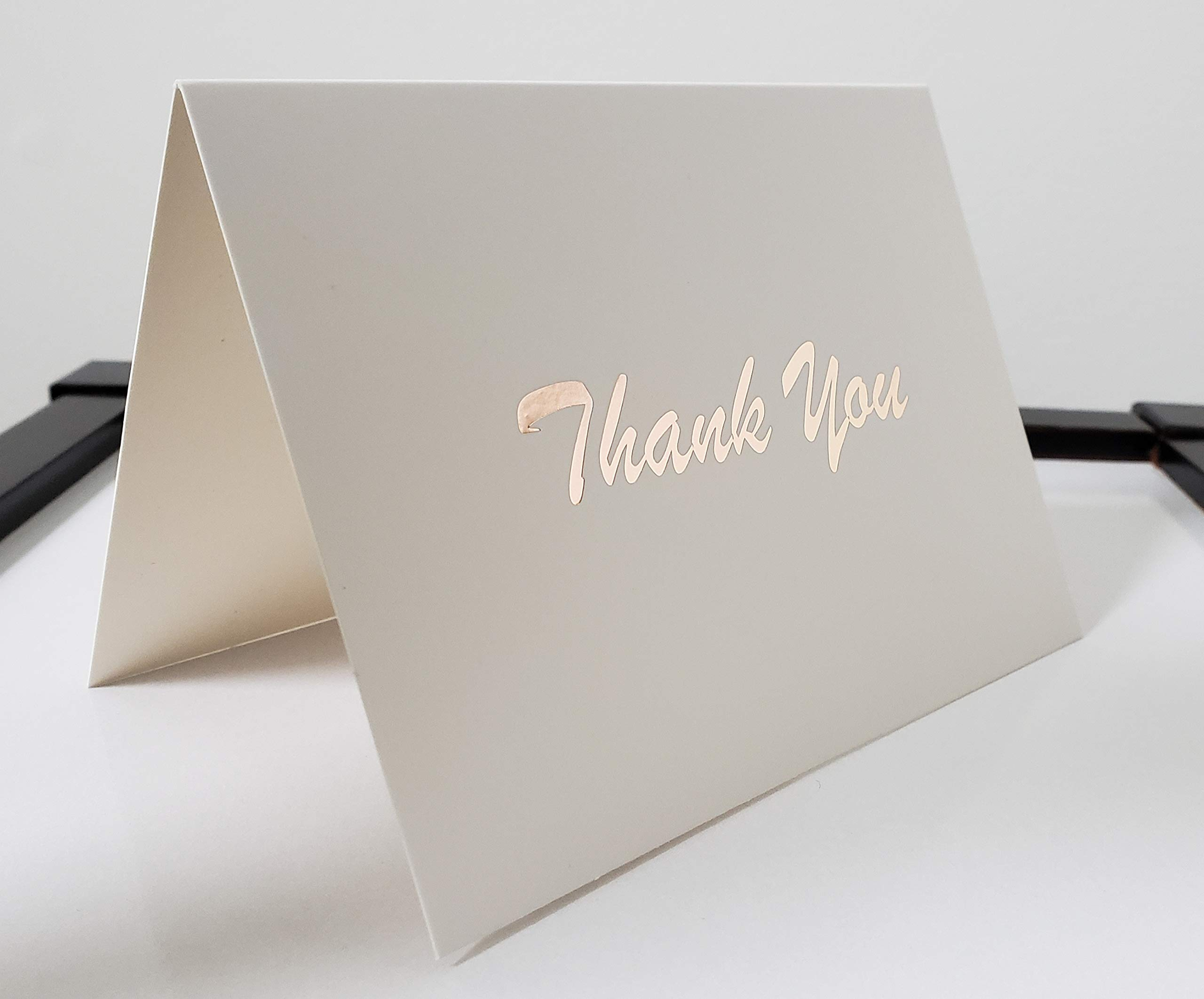 Thank You Cards - 100 Count - White Cards with Rose Gold Foil Text - Blank Inside, Includes Cards, Envelopes, and Seal Stickers; Great for Weddings, Graduation, Baby Shower, Bridal Shower