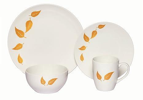 Melange Coupe 16 Piece Porcelain Dinnerware Set Gold Leaves Service For 4 Microwave Dishwasher Oven Safe Dinner Plate Salad Plate Soup Bowl Mug 4 Each Industrial Scientific