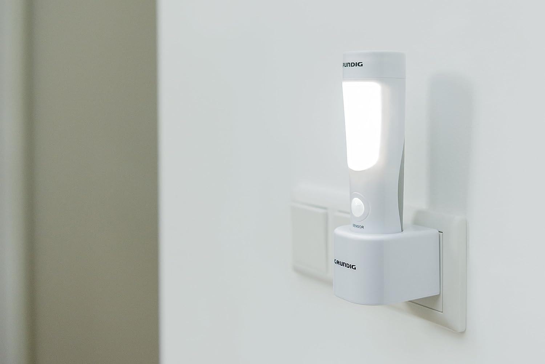 blanc//gris 10/x 5.4/x 16,7/cm Grundig 41970 veilleuse et lampe torche 2/en 1 plastique