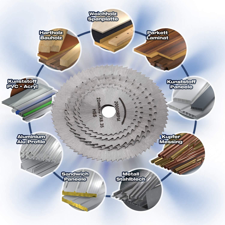 aluminio hierro Hoja de sierra circular madera Mini HSS Disco de corte de madera con rueda de corte de sierra con 2 barras para cobre pl/ástico aleaci/ón