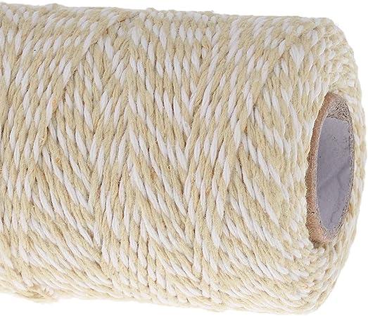 Desconocido 100m Rollo de Cuerda Cinta Hilo Algodón para Costura Artesanía Marrón Claro Blanco: Amazon.es: Hogar
