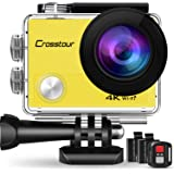 Crosstour Action Cam 4K, WIFI Sport Action Camera 170° Grandangolare 2.0 Pollic (CT8000-DE) (Giallo)